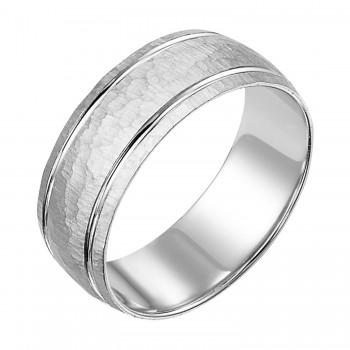 Goldman 14k White Gold Mens Comfort-Fit Wedding Band 11-10K4W8-G.00