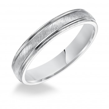 Goldman 14k White Gold Mens Comfort-Fit Wedding Band 11-10S4W4-G.00
