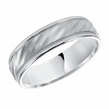 Goldman 14k White Gold Mens Comfort-Fit Wedding Band 11-12C4W6-G.00