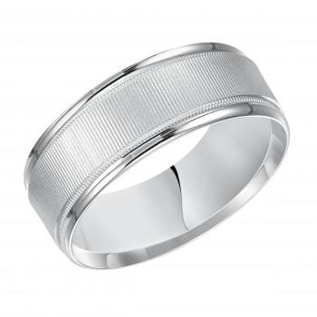 Goldman 14k White Gold Mens Comfort-Fit Wedding Band 11-12N4W8-G.00