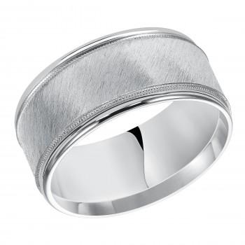 Goldman 14k White Gold Mens Comfort-Fit Wedding Band 11-12S4W10-G.00
