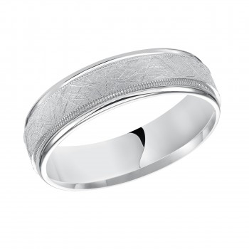 Goldman 14k White Gold Mens Comfort-Fit Wedding Band 11-12T4W6-G.00