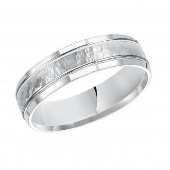 Goldman 14k White Gold Mens Comfort-Fit Wedding Band 11-13K4W6-G.00