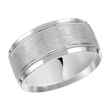 Goldman 14k White Gold Mens Comfort-Fit Wedding Band 11-13R4W10-G.00