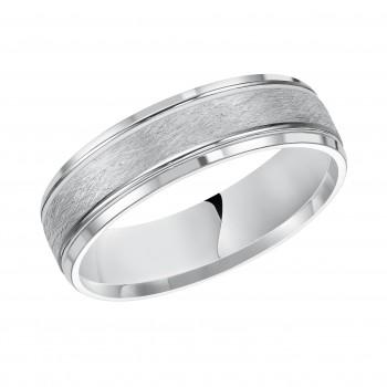 Goldman 14k White Gold Mens Comfort-Fit Wedding Band 11-13R4W6-G.00