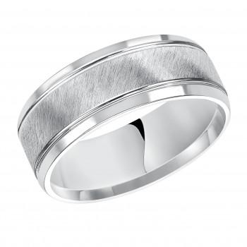 Goldman 14k White Gold Mens Comfort-Fit Wedding Band 11-13S4W8-G.00