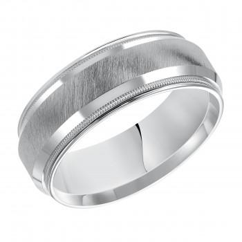 Goldman 14k White Gold Mens Comfort-Fit Wedding Band 11-14S4W8-G.00