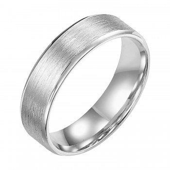 Goldman 14k White Gold Mens Comfort-Fit Wedding Band 11-15R4W6-G.00
