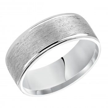 Goldman 14k White Gold Mens Comfort-Fit Wedding Band 11-15R4W8-G.00