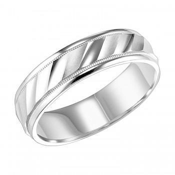 Goldman 14k White Gold Mens Comfort-Fit Wedding Band 11-6144W-G.00