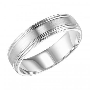 Goldman 14k White Gold Mens Comfort-Fit Wedding Band 11-8097W6-G.00