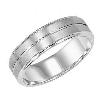 Goldman 14k White Gold Mens Comfort-Fit Wedding Band 11-8133W6-G.00