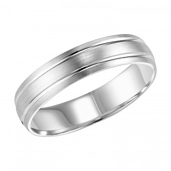 Goldman 14k White Gold Mens Comfort-Fit Wedding Band 11-8136W5-G.00