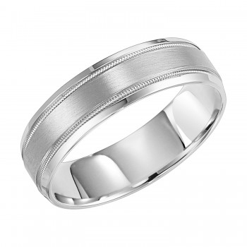 Goldman 14k White Gold Mens Comfort-Fit Wedding Band 11-8267W-G.00