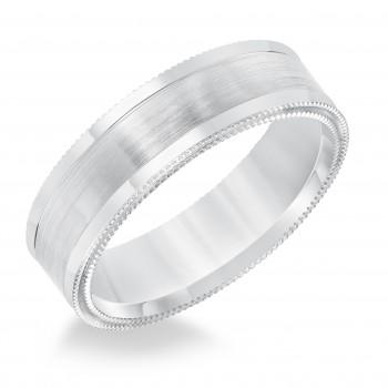 Goldman 14k White Gold Mens Comfort-Fit Wedding Band 11-8633W65-G.00