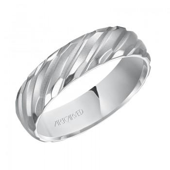 Artcarved 11-WV7461W6  14k White Gold Mens  Wedding Band