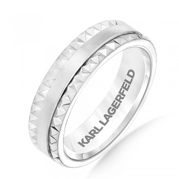 Karl Lagerfeld 31-KA135P Classic 18k White Gold Mens  Wedding Band