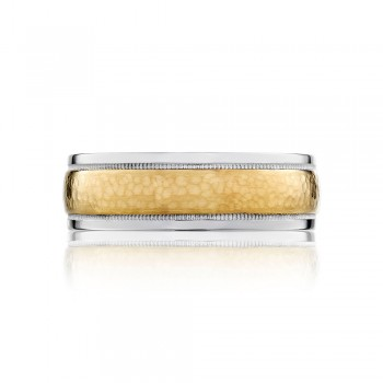 Tacori 130-7WYH  18k White and Yellow Gold Mens Sculpted Crescent Wedding Band
