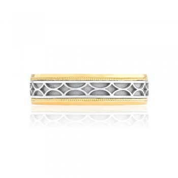 Tacori 133-6WY  18k White and Yellow Gold Mens Sculpted Crescent Wedding Band