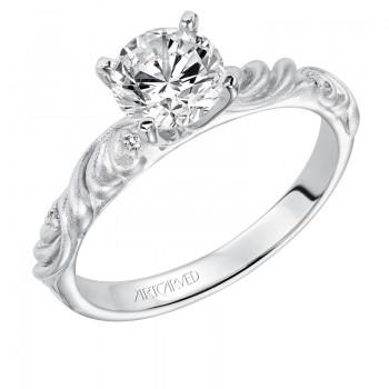 Artcarved 31-V104ERW-E.00 Vintage 14k White Gold Ladies  Engagement Ring