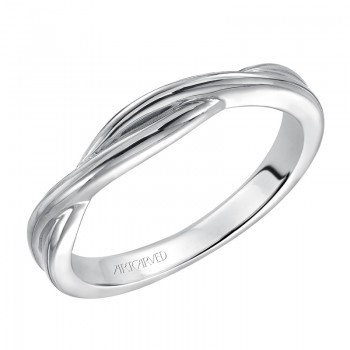 Artcarved 31-V153W-L.00 Contemporary 14k White Gold Ladies Solitude Wedding Band