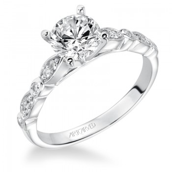 Artcarved 31-V170ERW-E.00 Contemporary 14k White Gold Ladies  Engagement Ring