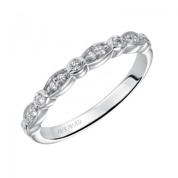 Artcarved 31-V170W-L.00 Contemporary 14k White Gold Ladies  Wedding Band