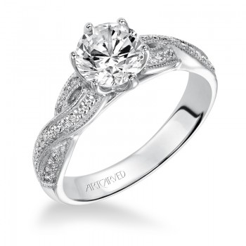 Artcarved 31-V200ERW-E.00 Contemporary 14k White Gold Ladies  Engagement Ring