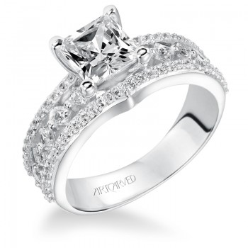 Artcarved 31-V208FCW-E.00 Contemporary 14k White Gold Ladies  Engagement Ring