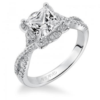 Artcarved 31-V339GCW-E.00 Halo 14k White Gold Ladies  Engagement Ring