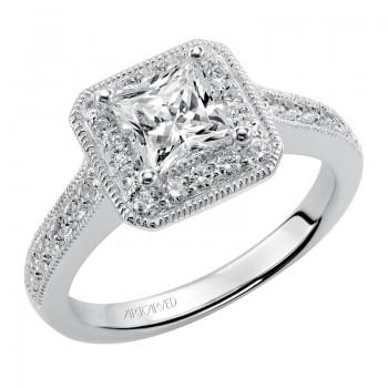 Artcarved 31-V347ECW-E.00 Halo 14k White Gold Ladies  Engagement Ring