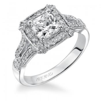 Artcarved 31-V354FUW-E.00 Halo 14k White Gold Ladies  Engagement Ring