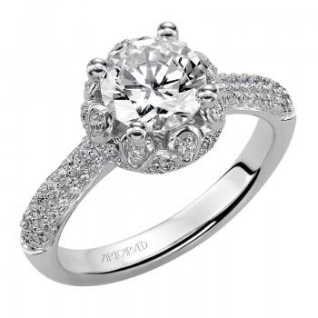 Artcarved 31-V387FRW-E.00 Halo 14k White Gold Ladies  Engagement Ring