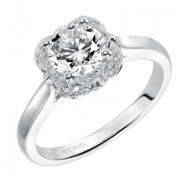 Artcarved 31-V396ERW-E.00 Halo 14k White Gold Ladies  Engagement Ring