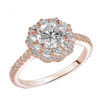 Artcarved 31-V449ERR-E.00 Halo 14k Rose Gold Ladies  Engagement Ring
