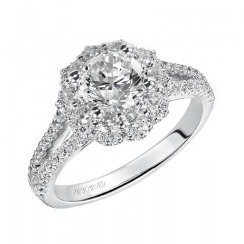 Artcarved 31-V451ERW-E.00 Halo 14k White Gold Ladies  Engagement Ring
