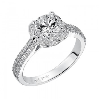 Artcarved 31-V457ERW-E.00 Halo 14k White Gold Ladies  Engagement Ring