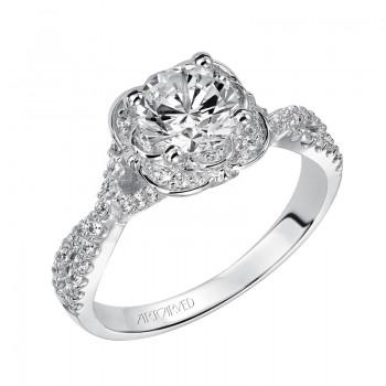 Artcarved 31-V459ERW-E.00 Halo 14k White Gold Ladies  Engagement Ring