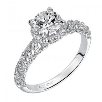 Artcarved 31-V468ERW-E.00 Halo 14k White Gold Ladies  Engagement Ring