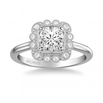 Artcarved 31-V828ERW-E Vintage 14k White Gold Ladies Mabel Engagement Ring
