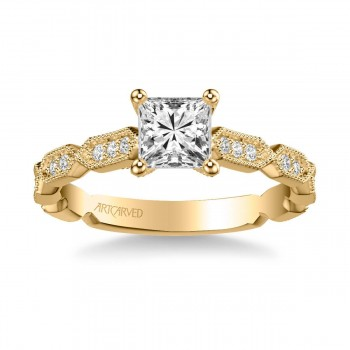 Artcarved 31-V846ECY-E Vintage 14k Yellow Gold Ladies Cressida Engagement Ring