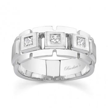 White Gold Princess Cut Diamond Wedding Band 6943G
