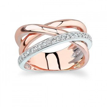 White and Rose Gold Wedding Band 6950LTP