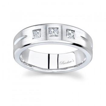 White Gold Princess Cut Diamond Wedding Band 7068G