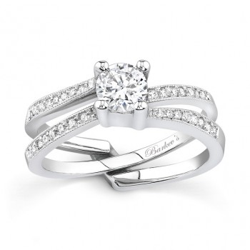 Barkevs White Gold Diamond Engagement Ring Set 7142SW