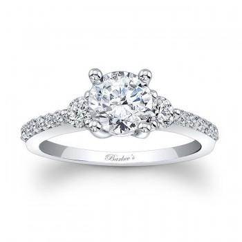 Three Stone Moissanite Engagement Ring MOI-7539L