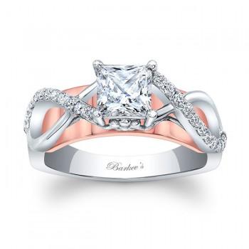 Barkevs Princess Cut Diamond Engagement Ring 8018LTWRV