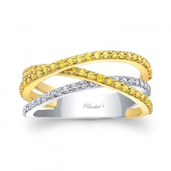 18K Natural Yellow Diamond Wedding Band 8179LYD