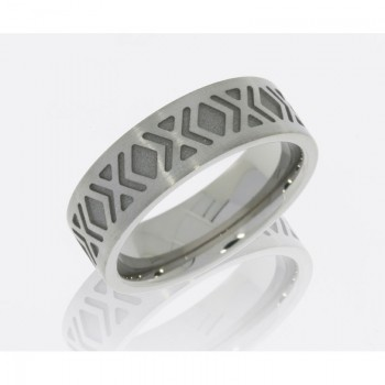 Lashbrook Cobalt Chrome 9mm Flat Band With Cross Pattern CC9FTWOEQUIS