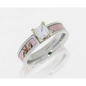 Lashbrook Cobalt Chrome 5mm Flat Band With 3mm Of Pink Realtree Ap And White Gold Crown And .75 Prin